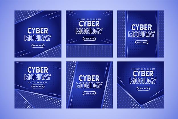 Collezione di bundle post sui social media di vendita di cyber lunedì