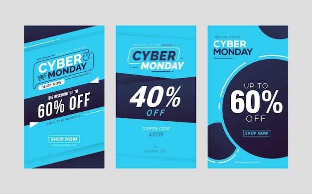 Collezione di modelli di storie sui social media di vendita di cyber lunedì