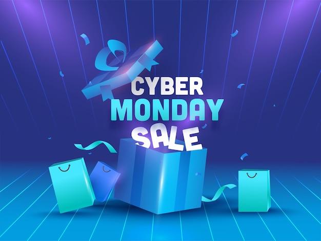 Testo di vendita di cyber monday con confezione regalo aperta realistica