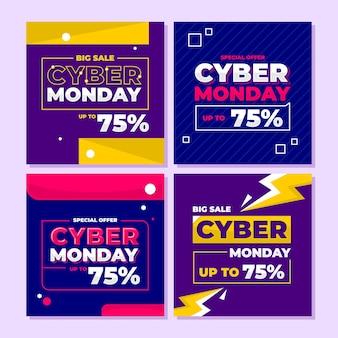 Offerta speciale del cyber monday, grande vendita, sconto per post o storie su instagram