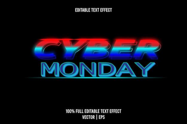 Effetto testo cyber monday rosso, ciano e blu