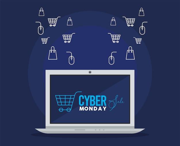 Cyber lunedì con laptop
