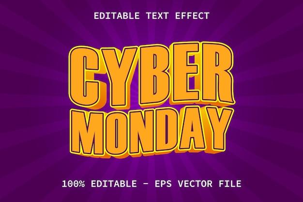Cyber monday con effetto di testo modificabile in stile moderno