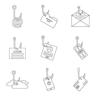 Set di icone di cyber phishing
