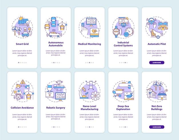Sistemi cyber-fisici che integrano la schermata della pagina dell'app mobile con i concetti impostati. vantaggi dell'applicazione e dell'utilizzo in 5 passaggi. modello di interfaccia utente con colore rgb