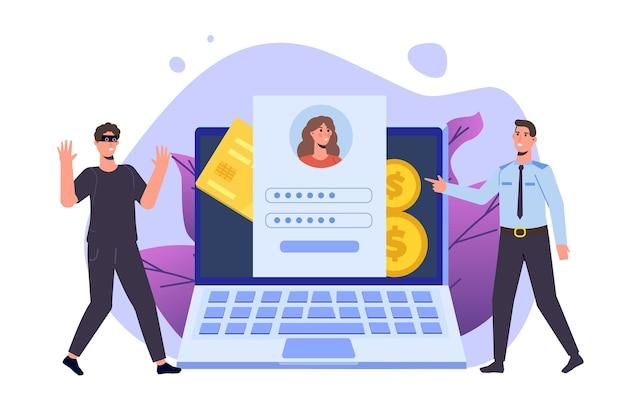 Polizia informatica, furto e frode commessi, concetto di attacco del titolare della carta. poliziotto che arresta un hacker. stop ai crimini finanziari. illustrazione di stile piano di vettore.