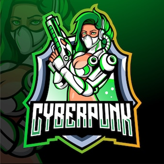 Cyber punk mascotte esport logo design