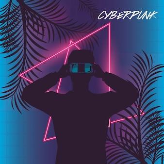 Poster cyber punk con uomo che usando la maschera di realtà virtuale