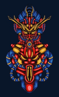 Cyber robotica illustrazione blu