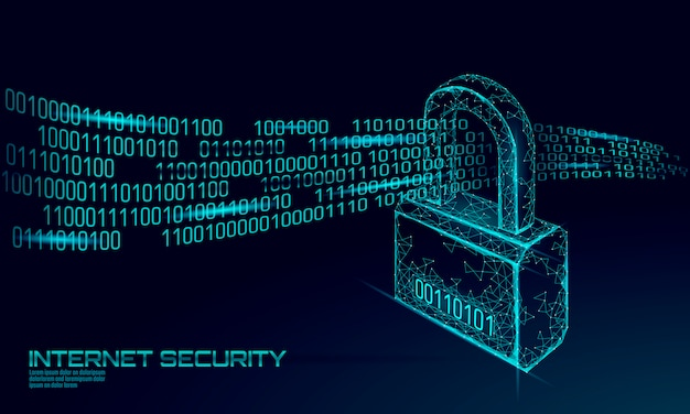 Lucchetto di sicurezza informatica sulla massa di dati. illustrazione futura poligonale bassa del blu di concetto di affari della rete di tecnologia dell'innovazione della segretezza di informazioni della serratura di sicurezza di internet poli
