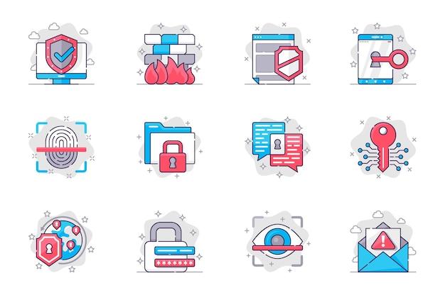 Le icone della linea piatta del concetto di sicurezza informatica impostano la protezione dei dati su internet per l'app mobile