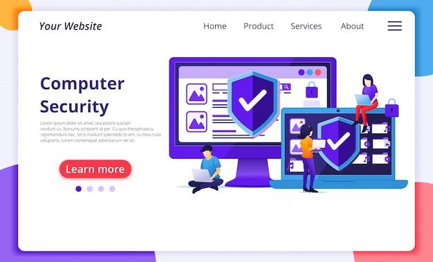 Concetto di sicurezza informatica, la gente lavora al laptop proteggendo i dati e la riservatezza. modello di pagina di destinazione del sito web