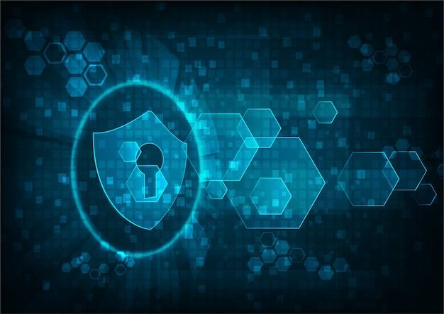 Concetto di sicurezza informatica: icona scudo con buco della serratura su sfondo di dati digitali.