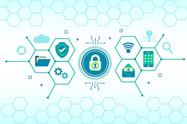 Concetto di sicurezza informatica con elementi di tecnologia