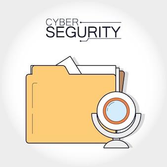 Cartella di sicurezza informatica con webcam