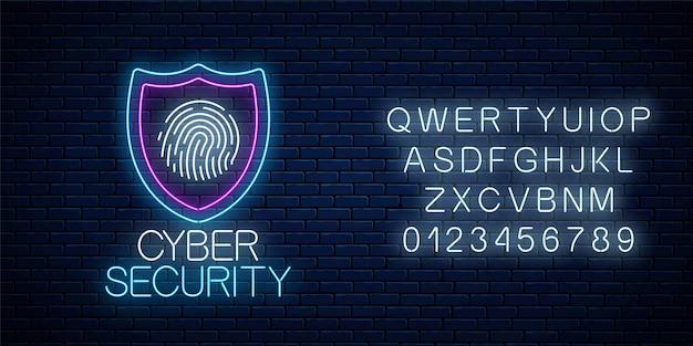 Insegna al neon incandescente di sicurezza informatica con alfabeto sul fondo del muro di mattoni scuri. simbolo di protezione internet con scudo e impronta digitale. illustrazione vettoriale.