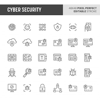 Set di icone di sicurezza informatica