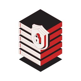 Icona di sicurezza informatica con blocco 3d sull'illustrazione del centro dati