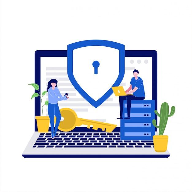 Cyber security illustrazione concetto con personaggi. sicurezza dei dati, controllo degli accessi protetti, protezione dei dati personali.