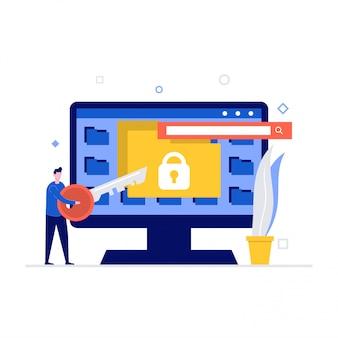 Concetto di illustrazione di sicurezza informatica con personaggi e cartelle. sicurezza dei dati, controllo degli accessi protetti, protezione dei dati personali.
