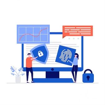 Concetto di illustrazione di sicurezza informatica con personaggi, scudo e impronta digitale. sicurezza dei dati, controllo degli accessi protetti, protezione dei dati personali.