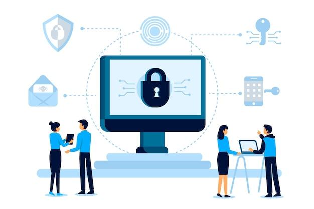 Concetto dell'illustrazione di sicurezza cyber con la gente