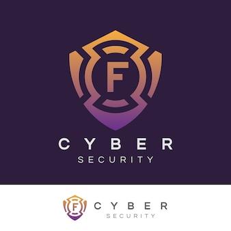 Sicurezza informatica iniziale lettera f logo design