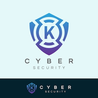 Cyber security iniziale lettera k logo design