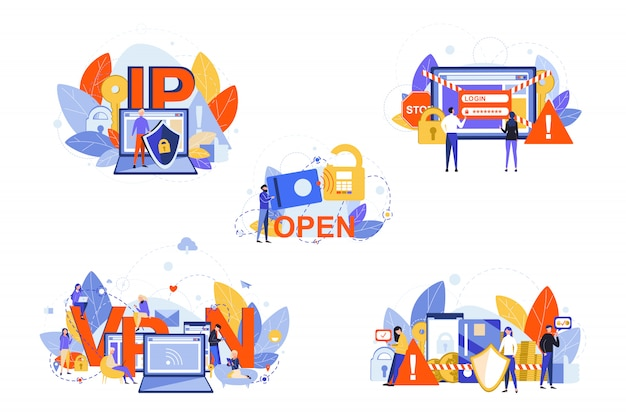 Sicurezza informatica, internet, vpn, ip, protezione dei dati imposta concetto