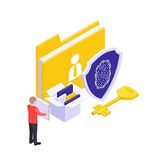Concetto isometrico di sicurezza informatica con chiave di accesso alle impronte digitali e cartelle su sfondo bianco