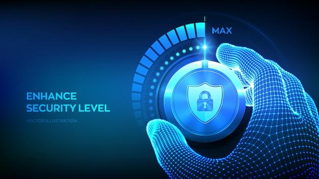 Pulsante manopola livelli di sicurezza informatica. mano wireframe ruotando una manopola di prova sicura nella posizione massima.