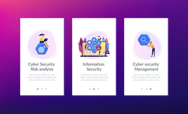 Modello di interfaccia dell'app di gestione della sicurezza informatica.