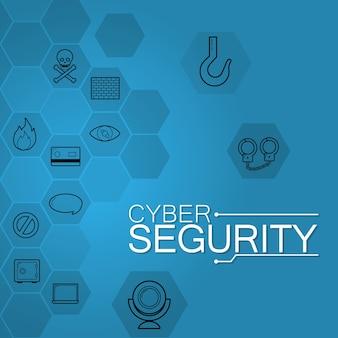 Icone rotonde di sicurezza cyber nei colori blu
