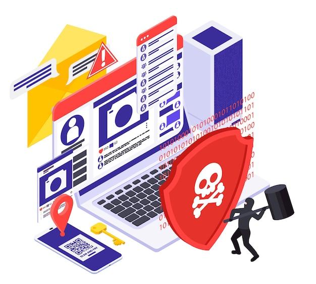 Illustrazione isometrica di protezione dei dati dello spyware di sicurezza informatica