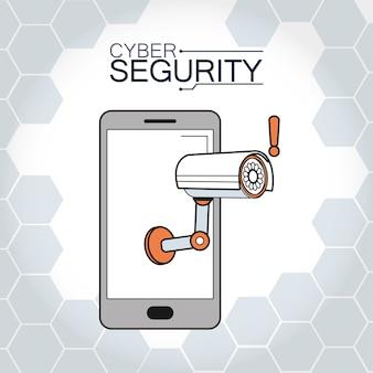 Videosorveglianza di sicurezza informatica nel concetto di smartphone