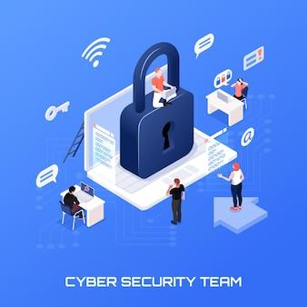 Concetto isometrico del team di sicurezza informatica