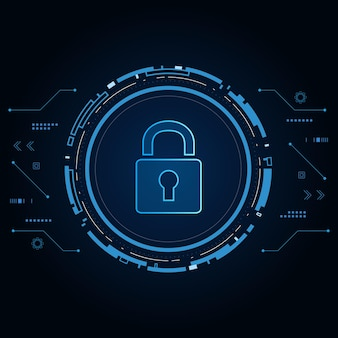 Concetto di tecnologia di sicurezza informatica, icona scudo con buco della serratura, dati personali,