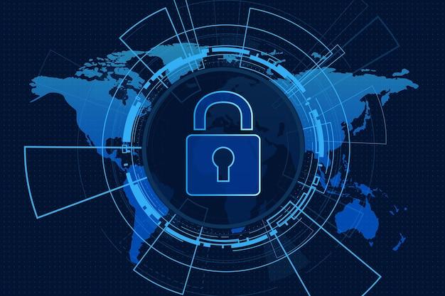 Concetto di tecnologia di sicurezza informatica scudo con i dati personali dell'icona del buco della serratura