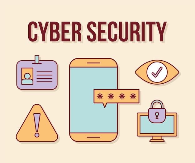 Testo di sicurezza informatica ee set di icone di sicurezza informatica su uno sfondo arancione