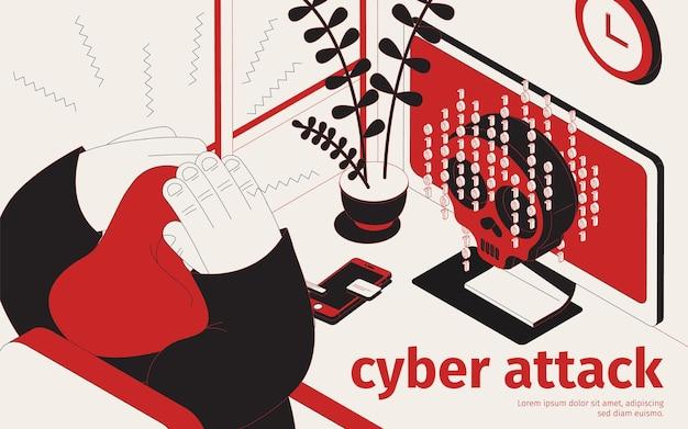 Illustrazione isometrica del virus dell'arma di minaccia informatica
