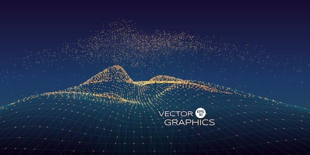 Paesaggio cyber vettoriale fatto di wireframe e particelle con particelle in aumento sopra con linea di connessione. concetto di design moderno per l'illustrazione della tecnologia, big data.