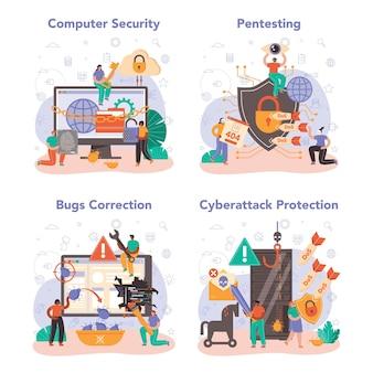 Set di sicurezza informatica o web. protezione dei dati digitali e sicurezza del database