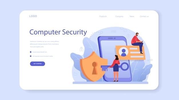 Banner web o pagina di destinazione dello specialista della sicurezza informatica o web. idea di protezione e sicurezza dei dati digitali. tecnologia moderna e criminalità virtuale.