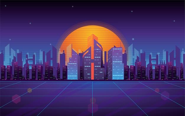 Paesaggio urbano di cyber world Vettore Premium