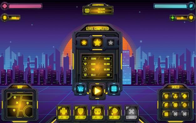 Interfaccia utente di cyber world game Vettore Premium