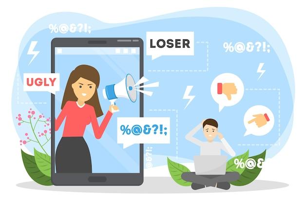Concetto di cyberbullismo. idea di molestie in internet Vettore Premium