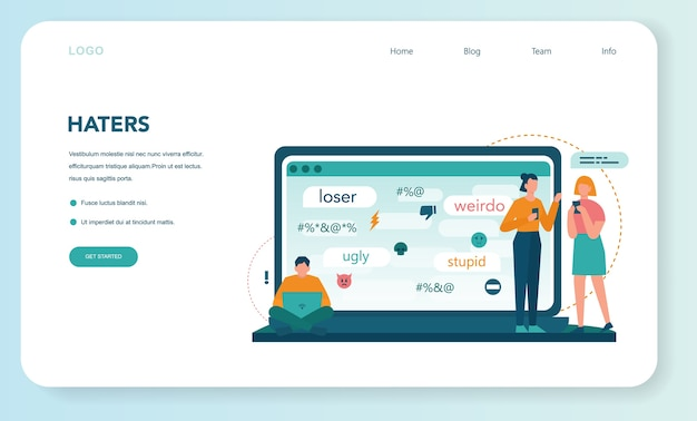 Banner web o pagina di destinazione del cyberbullismo Vettore Premium