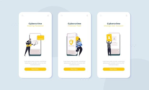 Illustrazione di furto di dati finanziari mobili di criminalità informatica sullo schermo di bordo concept
