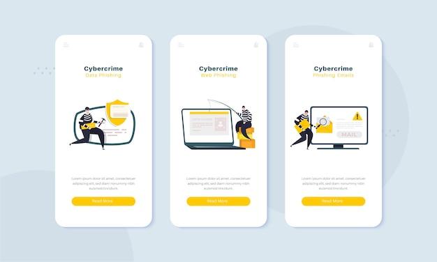 Illustrazione di furto di dati di web phishing di criminalità informatica sullo schermo di bordo concept