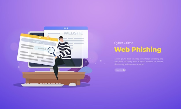 Cybercrime web phishing illustrazione concetto